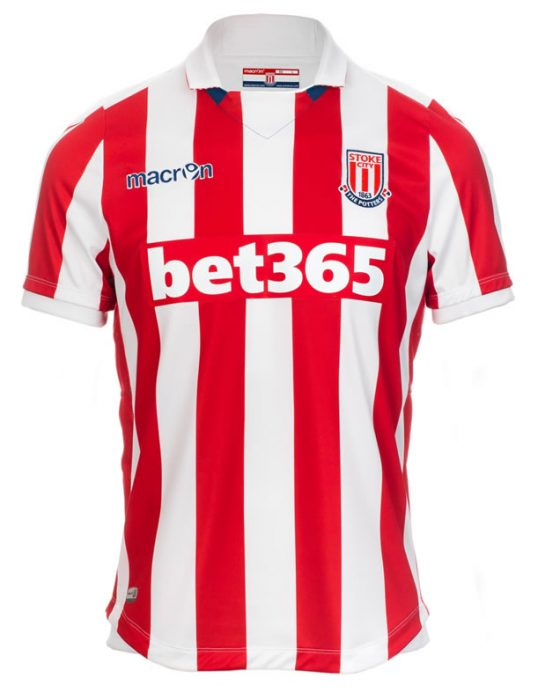 30a1adec6 The ever-present red and white stripes of Stoke is once again perfectly  crafted by new kit suppliers Macron who apply the striped effect across the  entire ...